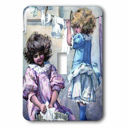 3dRose Little Girls On Laundry Day - Single Toggle Switch (lsp_34787_1)