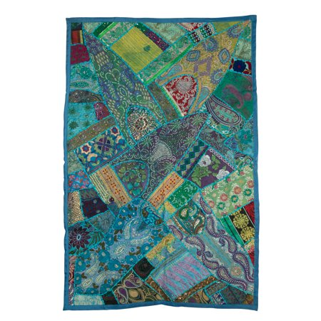 Tribe Azure Fair Trade Floral Embroidered Colorful Cotton Tapestry Wall Hanging Decor Art Home Boho Bohemian Hippie Turquoise Blue](Bohemian Wall Art)