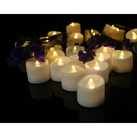 Cozeyat 24pcs Soft Warm White Battery Tea Lights Flameless Led Candles For Wedding Receptions