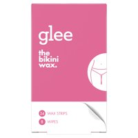 Glee Bikini Wax Hair Removal Strips for Women, 24 ct with 8 Wipes