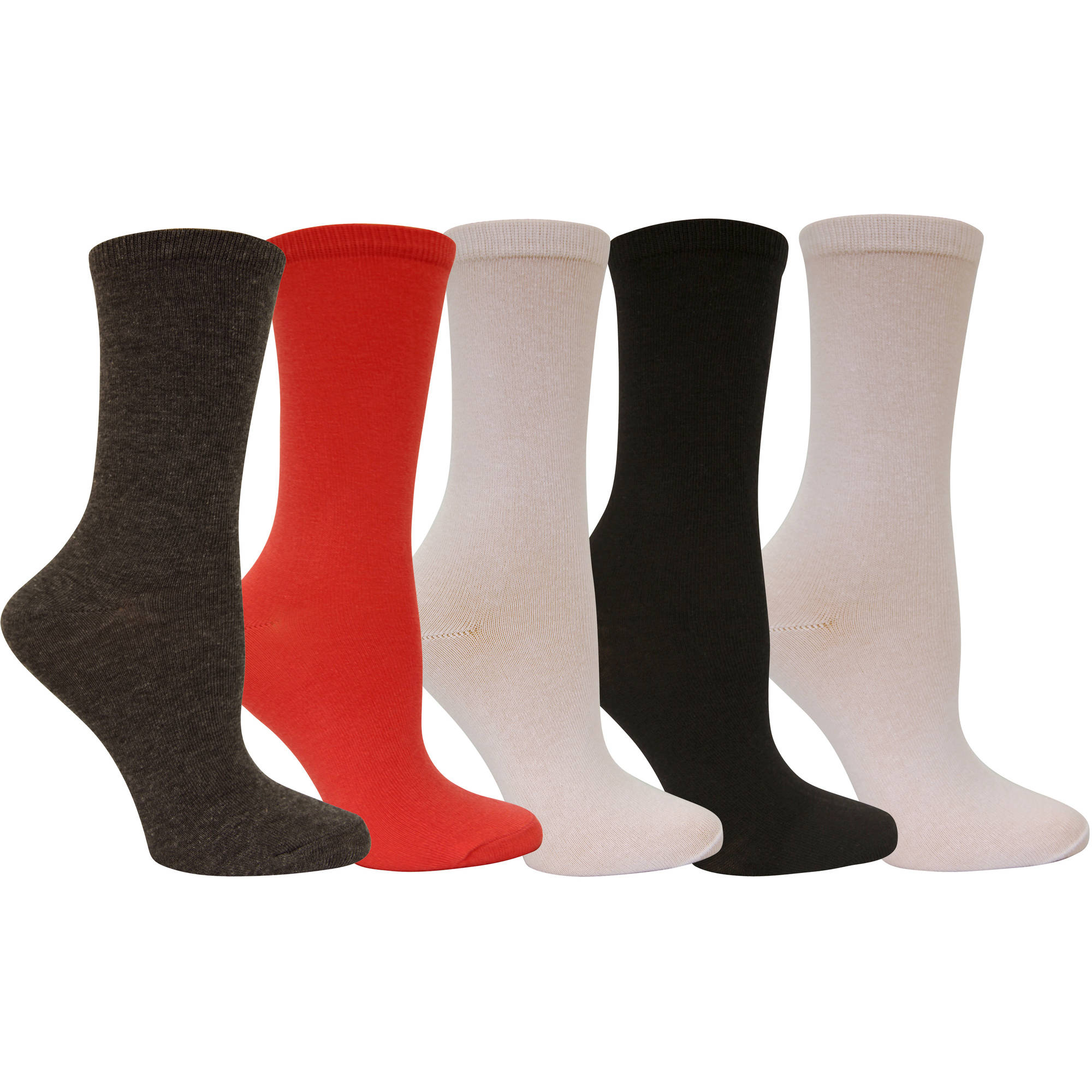 Faded Glory Womens Light Weight Crew Socks - 5 Pack