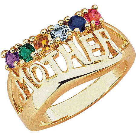 Personalized mother birthstone 14kt gold tone ring for Walmart jewelry mothers rings