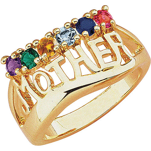 "Personalized ""Mother"" Birthstone 14kt Gold-Tone Ring"