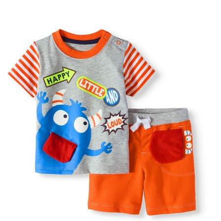 Baby Boy T-shirt & 3D Interactive Shorts, 2pc Outfit Set