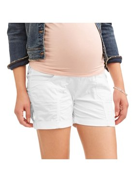 Oh! Mamma Maternity Over Belly Stretch Poplin Shorts - Available in Plus Sizes