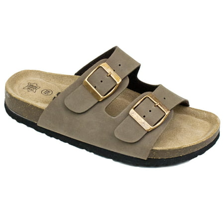 Women's Double Strap Genuine Leather Footbed Insole Flat Sandals (FREE SHIPPING)