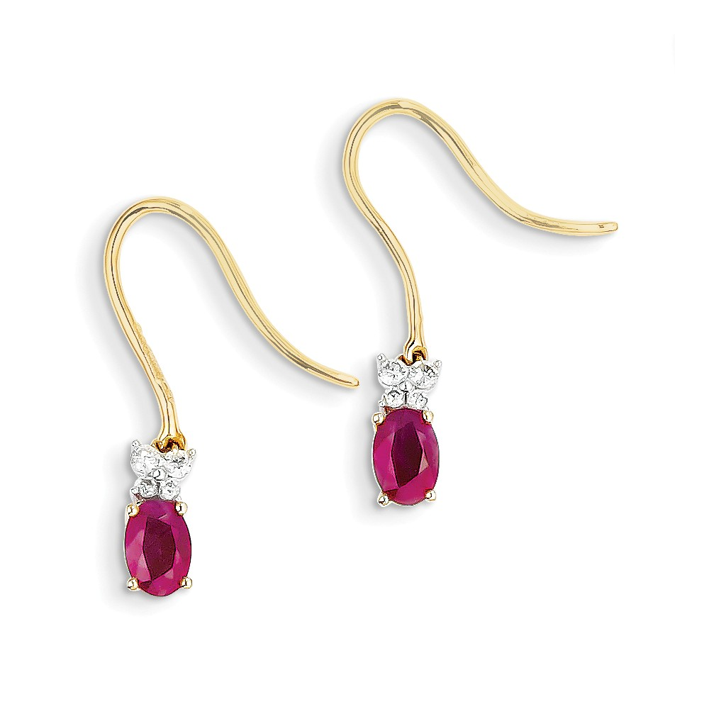 ICE CARATS 14kt Two Tone Yellow Gold Diamond Red Ruby Drop Dangle Chandelier Earrings Fine Jewelry Ideal Gifts For Women Gift Set From Heart