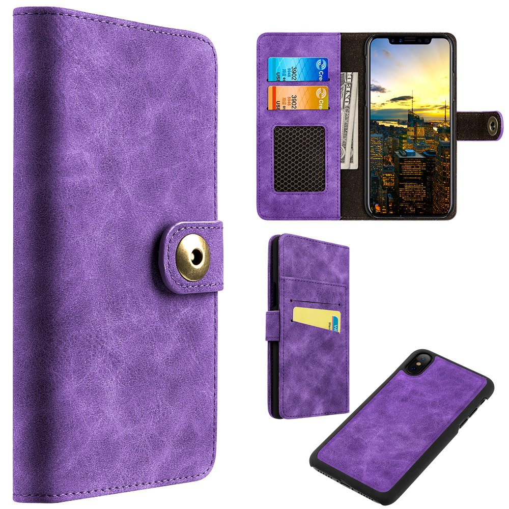 MUNDAZE Purple Detachable Magnetic Storage Wallet Flip Case For Apple iPhone X Phone