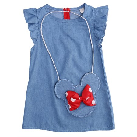 StylesILove Baby Girl Ruffle Sleeve Shabby Denim Dress with Coin Bag 2 pcs Set (100/4T)](Denim Dress For Girls)