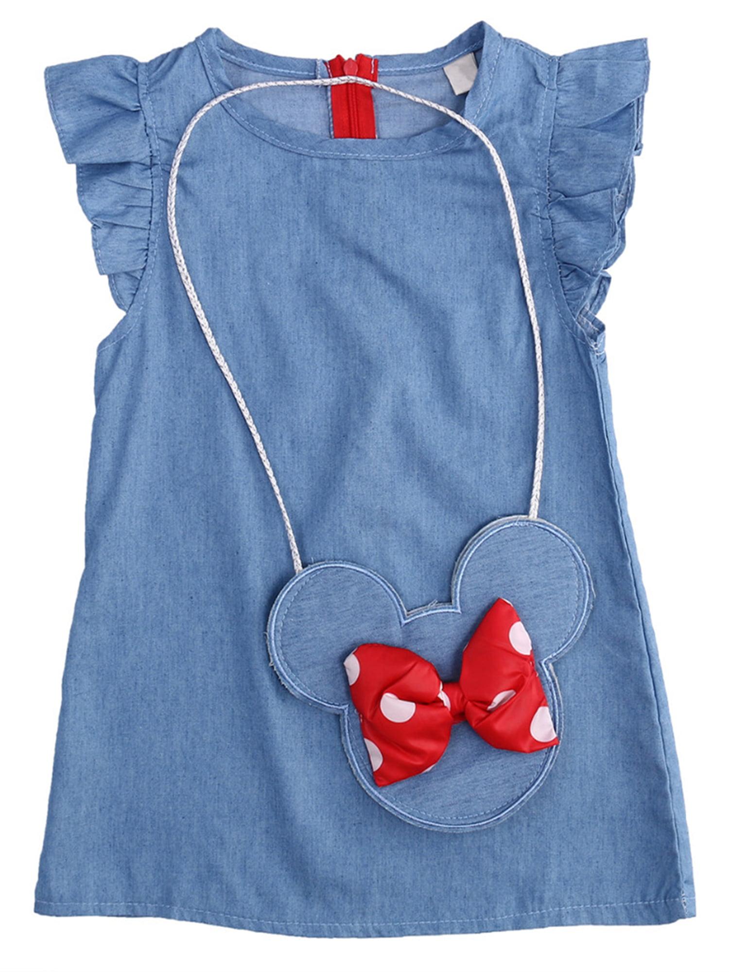 StylesILove Baby Girl Ruffle Sleeve Shabby Denim Dress with Coin Bag 2 pcs Set (100/4T)