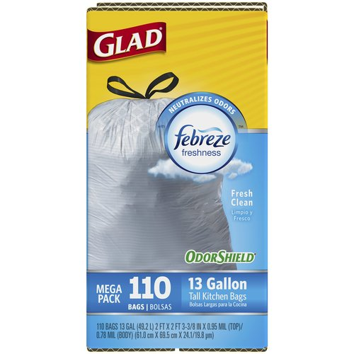 Glad OdorShield Fresh Clean Tall Kitchen Drawstring Trash Bags, 13 gallon, 110 count