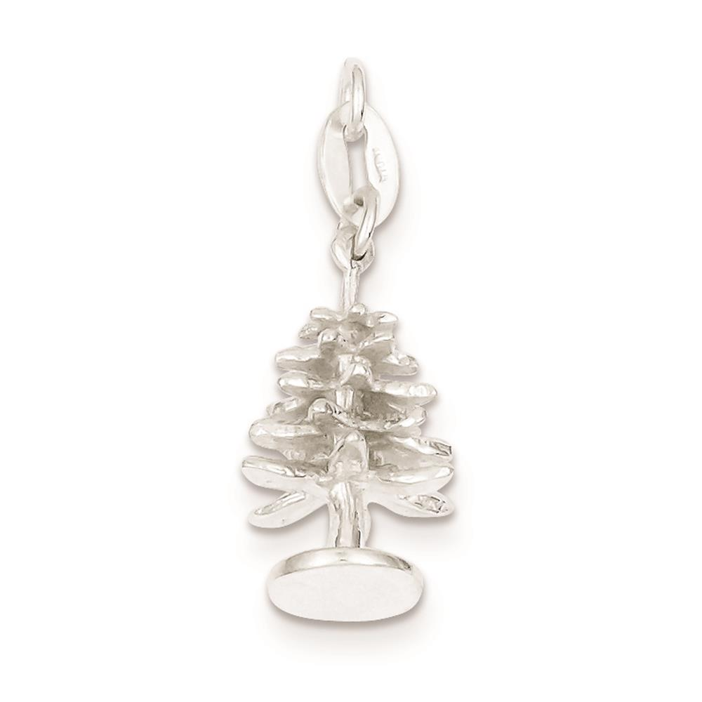 925 Sterling Silver 3-D Polished Tree Solid Charm Pendant