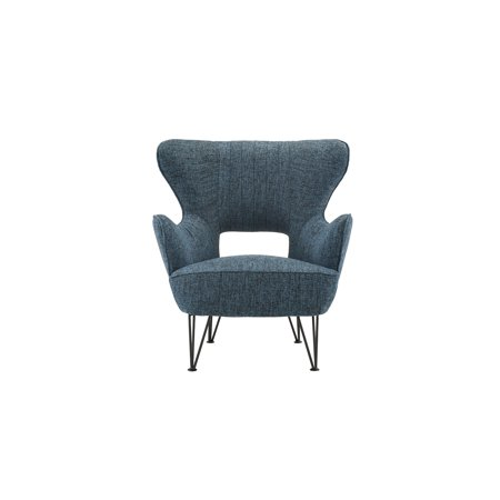 Mid Century Home Décor Shelter Style Accent Chair in Linen Upholstery, Dark Blue ()