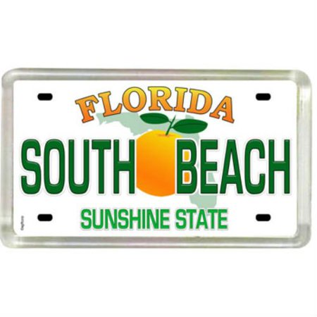 South Beach Florida License Plate Acrylic Small Fridge Collectors Souvenir Magnet 2 Inches X 1 25 Inches