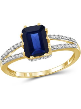 2 Carat T.G.W. Sapphire and White Diamond Accent 14kt Gold over Silver Spilt Shank Ring
