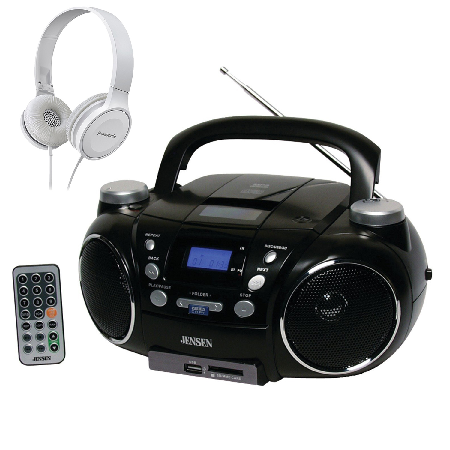 Jensen CD750 Portable AM/FM Stereo CD, MP3, Player w/ White On-Ear