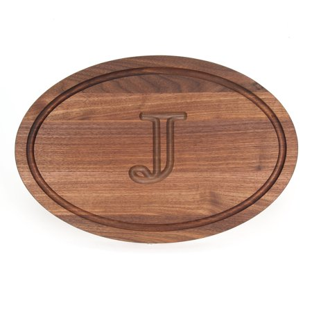 Trencher Board (BigWood Boards W420-J Carving Board, Oval Trencher with Juice Well, Large Monogrammed Cutting Board with Groove, Walnut Wood Serving Tray,)