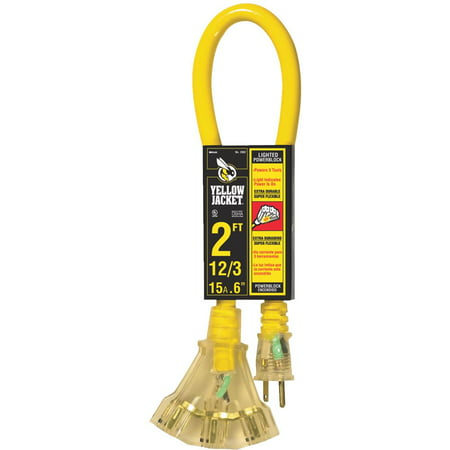 - Yellow Jacket 2882 12/3 Heavy-Duty 15-Amp SJTW Contractor Extension Cord with Lighted Power Block, 2'