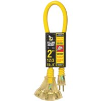 Yellow Jacket 2882 12/3 Heavy-Duty 15-Amp SJTW Contractor Extension Cord with Lighted Power Block, 2'
