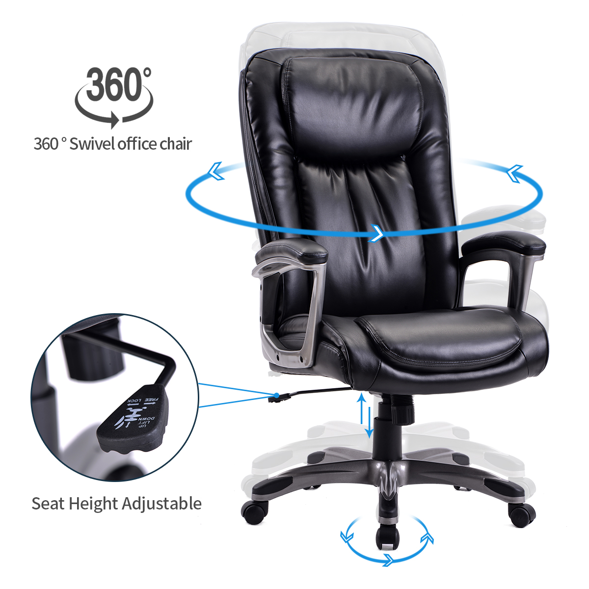 Computer Chair With Arms Urhomepro Pu Leather Executive Office Chair High Back Ergonomic Adjustable Office Chair Swivel Task Office Desk Chair W Casters Gaming Chair For Home Office Black W12876 Walmart Com