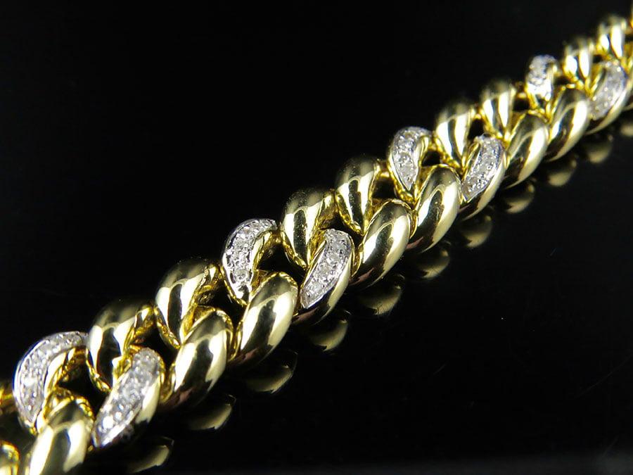 10K Yellow Gold 9MM Miami Cuban Link 8.5 Inch Diamond Bracelet 1.20ct. by Jewelry Unlimited