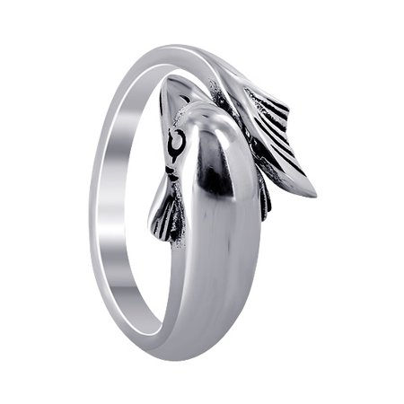 Gem Avenue 925 Sterling Silver Wrap-Around Dolphin Design Ring (Juniors Dolphin Design)
