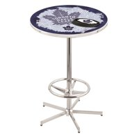 Holland Bar Stool L216C4236TorMpl-D2 42 in. Toronto Maple Leafs Pub Table with 36 in. Top, Chrome