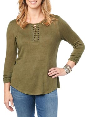 Quarter-Sleeve Lace-Up Stripe Top