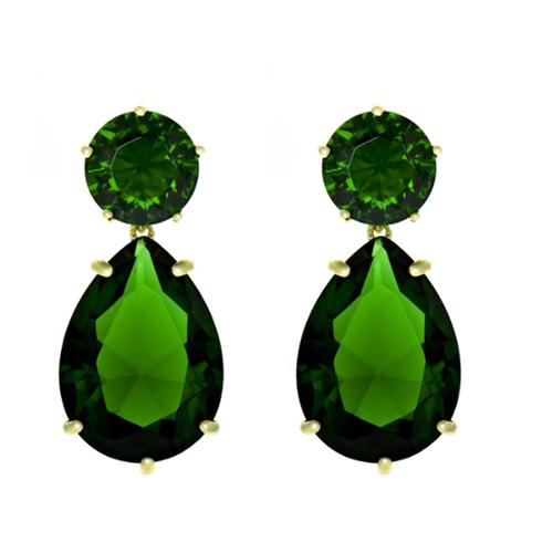 Emitations Green CZ Pear Drop Earrings