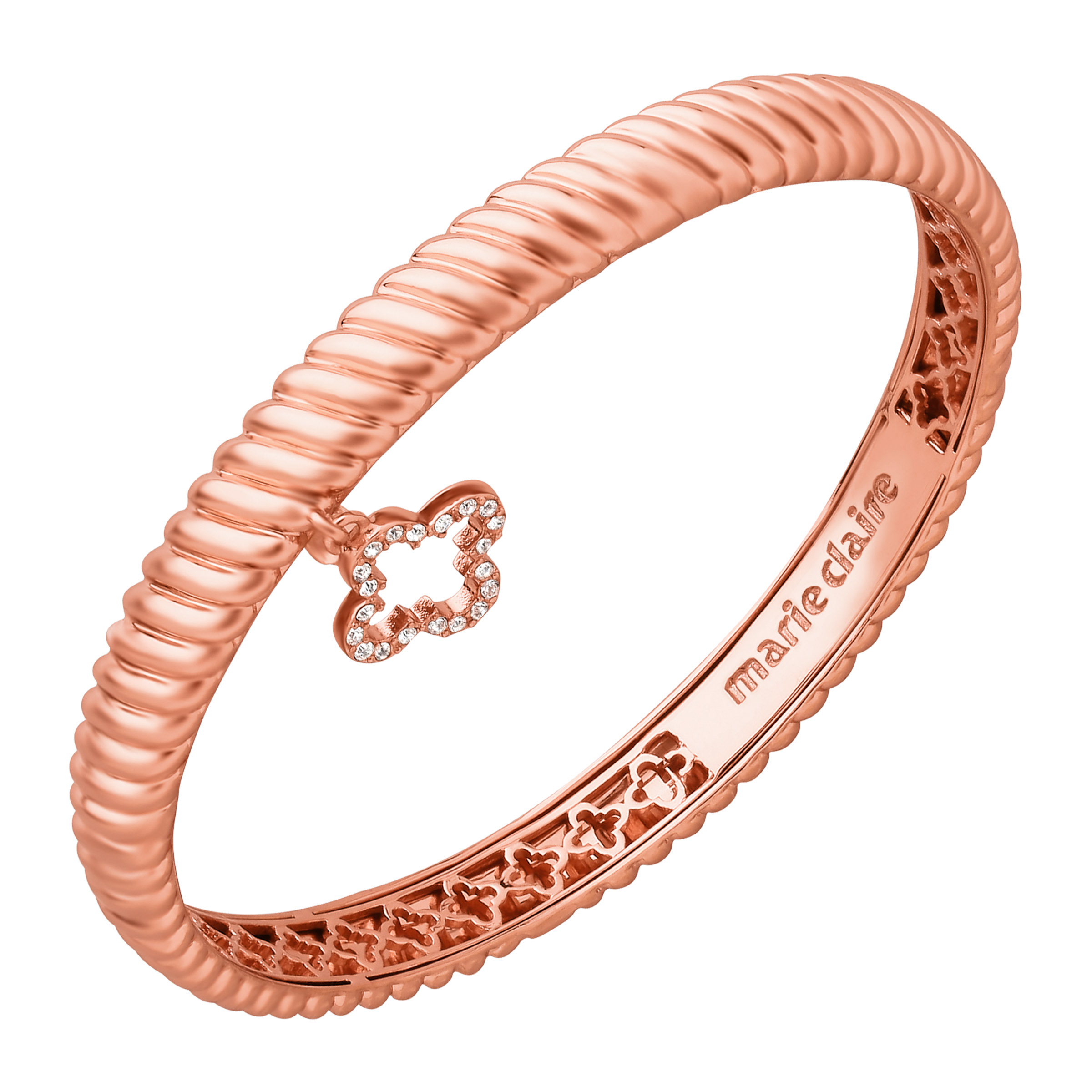 Marie Claire Crystal Clover Charm Bangle Bracelet in 14kt Rose Gold over Brass