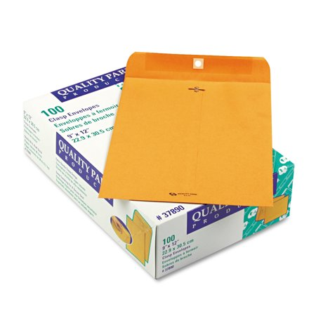 Quality Park Clasp Envelope, 9 x 12, 28lb, Brown Kraft, 100/Box