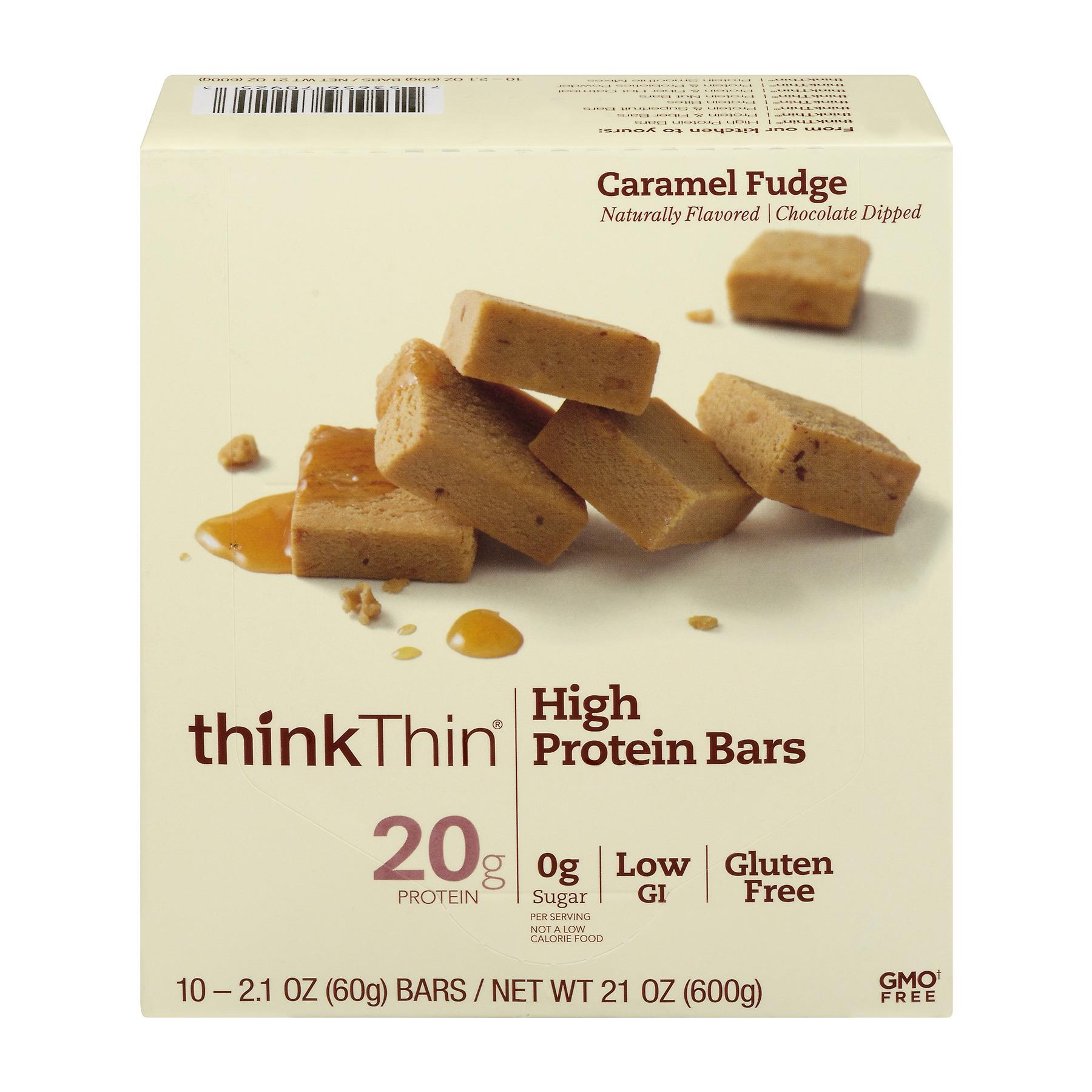 thinkThin High Protein Bar, Caramel Fudge, 20g Protein, 10 Ct