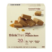 thinkThin High Protein Bars, Caramel Fudge, 2.1 oz Bar, 10 Count