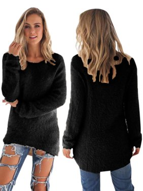 0ebbcf9a661 Product Image Women Velvet Fluffy Sweater Jumper Sweatshirt Long Sleeve  Pullover Tops Blouse