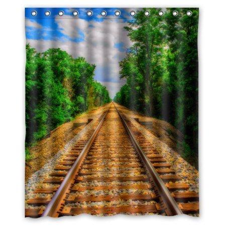 HelloDecor Train Track Shower Curtain Polyester Fabric Bathroom Decorative Curtain Size 60x72 Inches (Flexible Shower Curtain Track)