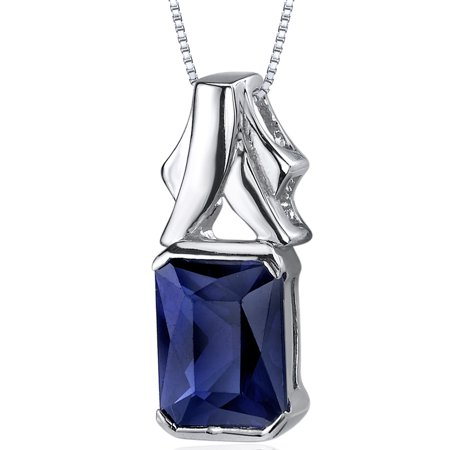 3.00 Carat T.G.W. Radiant Cut Created Blue Sapphire Rhodium over Sterling Silver Pendant, 18