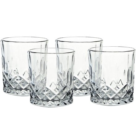 Bezrat Set of 6 Lead-Free Crystal Double Old-Fashioned Highball Water Glasses Heavy Base Barware Glasses Set 12oz Drinking Glasses