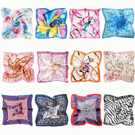 BMC 12pc Women's Silky Scarf Square Mixed Pattern & Colors Fashion Accessory Set - Various Packs BMC 12pc Women's Silky Scarf Square Mixed Pattern & Colors Fashion Accessory Set - Various Packs