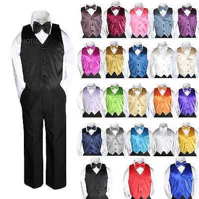 23 Color Satin 4 Pieces Set Vest Bow Tie Boy Baby Toddler Formal Tuxedo Suit S-7 - Pink Tuxedo