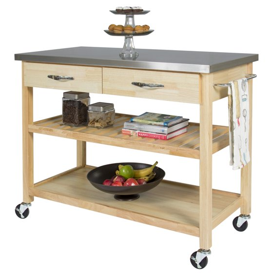 Best Choice Products Natural Wood Mobile Kitchen Island Utility Cart With Stainless Steel Top