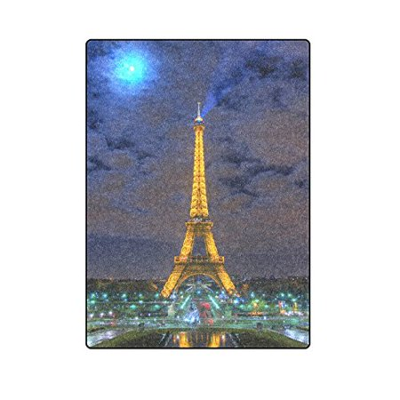 CADecor Eiffel Tower Blanket Throw Super Soft Warm Bed or Couch Blanket 58x80 inches Bed Head Eiffel Tower