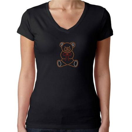 Womens T-Shirt Rhinestone Bling Black Tee Teddy Bear Sparkle V-Neck (Bling Teddy)