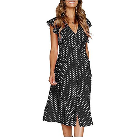4ef2c65f7db UKAP - Asian size Women Vintage Dot Pattern Midi Dress Elastic Waist Short  Sleeve Ladies Summer Casual Dresses Vestidos - Walmart.com