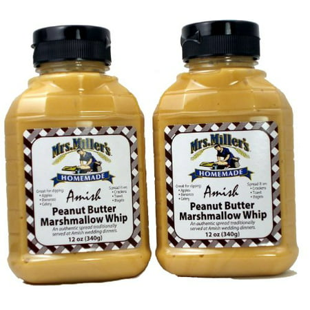 Amish Peanut Butter Marshmallow Whip - 2 / 12 Oz. Bottles, Mrs Millers (Peanut Butter Fudge Made With Marshmallow Creme)