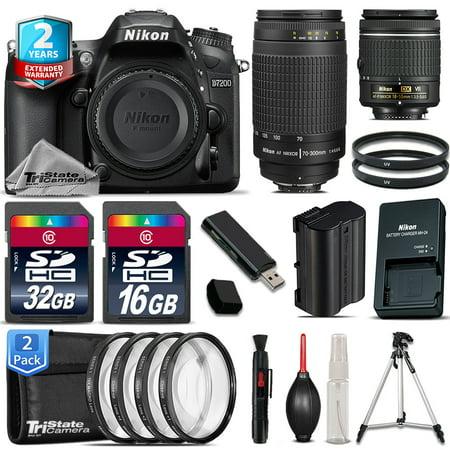 Nikon D7200 DSLR Camera + AF-P 18-55mm VR + 70-300mm G + 4PC Macro - 48GB