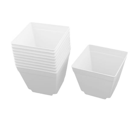 Plastic Square Flower Printed Pot Saucer Holder for Yard Balcony White 4 x 4 Inch 10pcs
