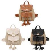 Jianama Leather Woven Backpacks Women Tassel Flap Schoolbags Knapsack (Light Brown)