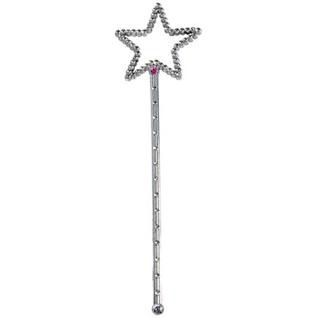 Costume Fairy Princess Queen Silver Magic Star Wand Scepter
