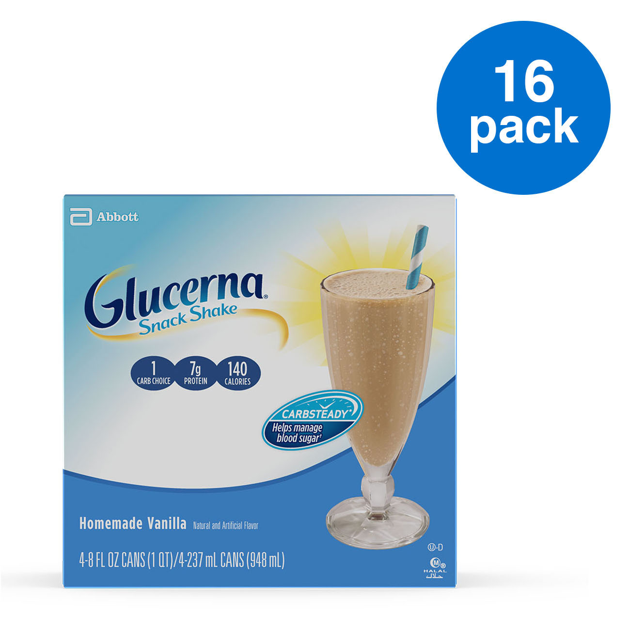 Glucerna Snack Nutrition Shake, Homemade Vanilla, To Help Manage Blood Sugar, 8 Oz, 16 Ct