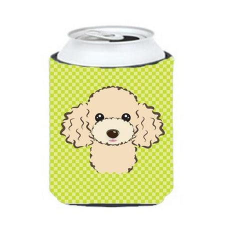 Carolines Treasures BB1320CC Checkerboard Lime Green Buff Poodle Can Or Bottle Hugger, 12 Oz. - image 1 de 1